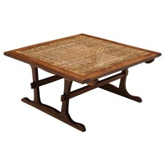 Dutch Square Coffee Table in Wicker and Stained Oak