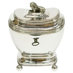 Dutch Sterling Silver Empire Style Tea Caddy, 1827