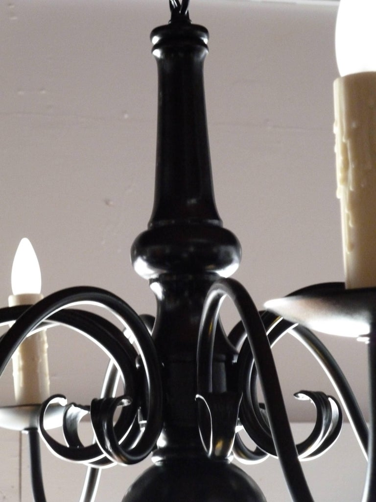 Dutch style Elegant Black Metal Chandelier In Excellent Condition For Sale In Los Angeles, CA