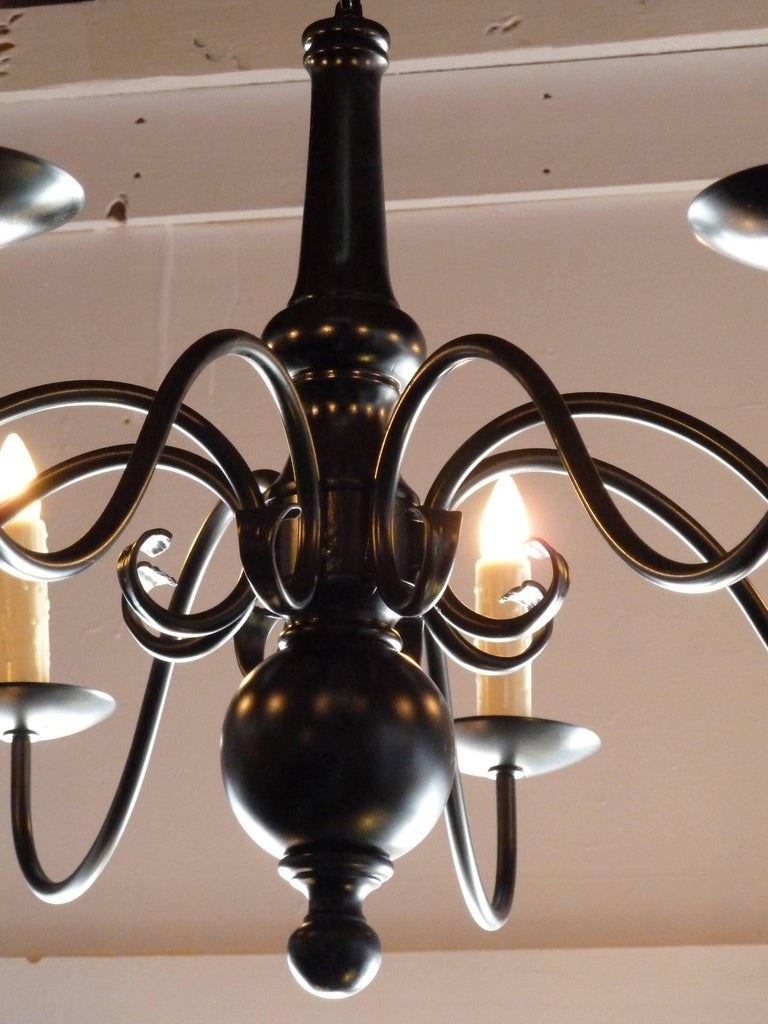 Mid-20th Century Dutch style Elegant Black Metal Chandelier For Sale
