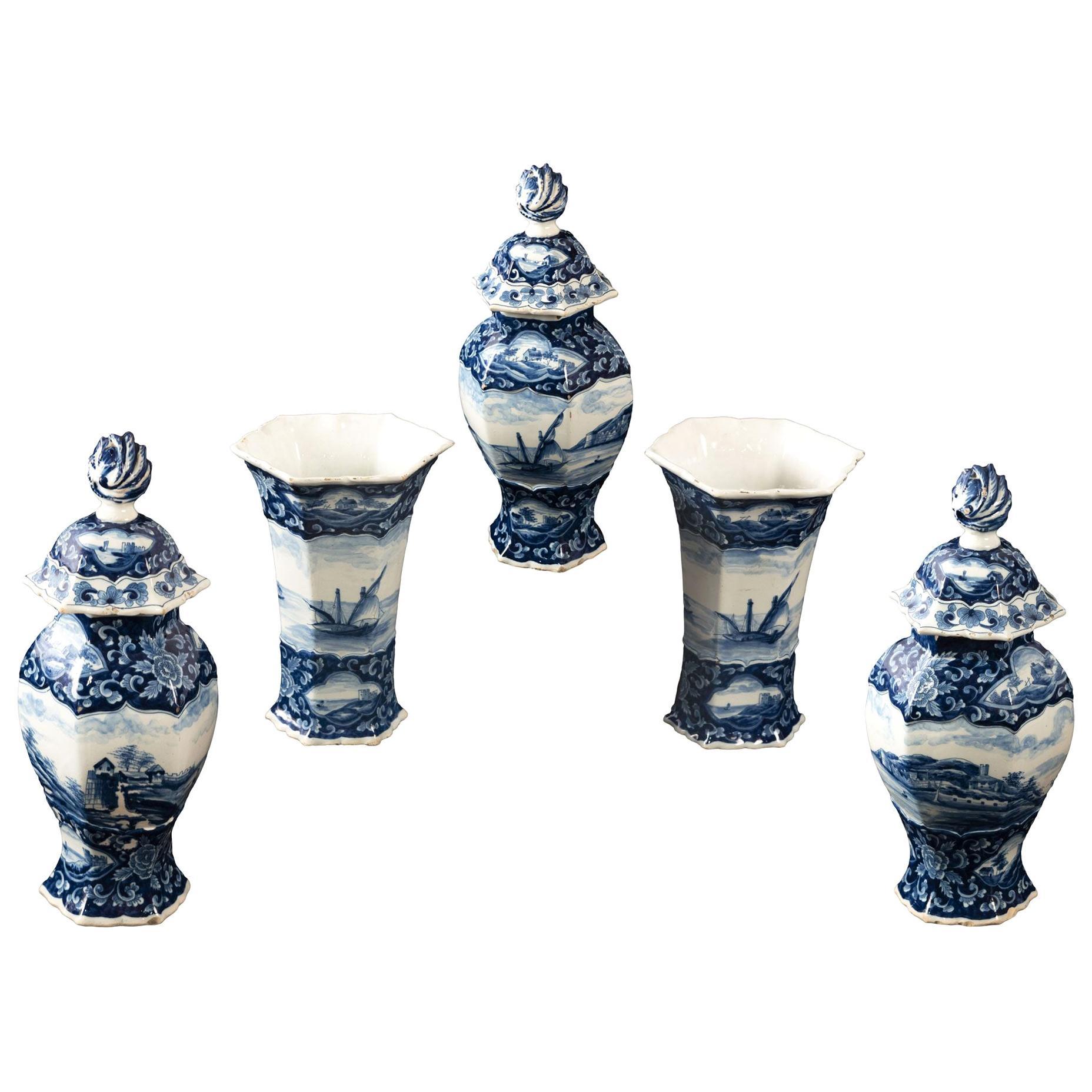 Dutch Tin-Glazed Earthenware Garniture Set