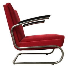 Dutch Tubular Easy Chair in Burgundy Red and Black Armrests, circa 1930