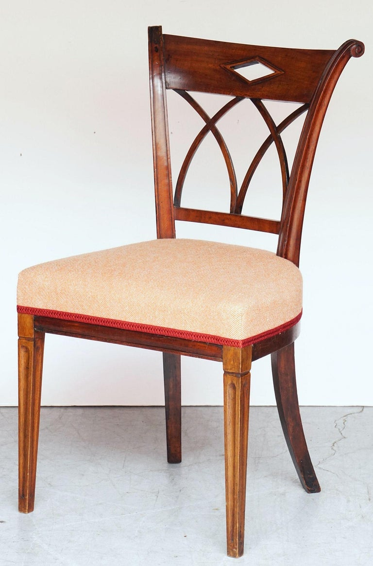 Dutch Upholstered Dining Chairs of Mahogany For Sale 8