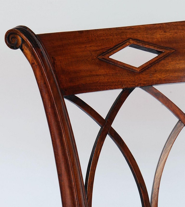 Dutch Upholstered Dining Chairs of Mahogany For Sale 11