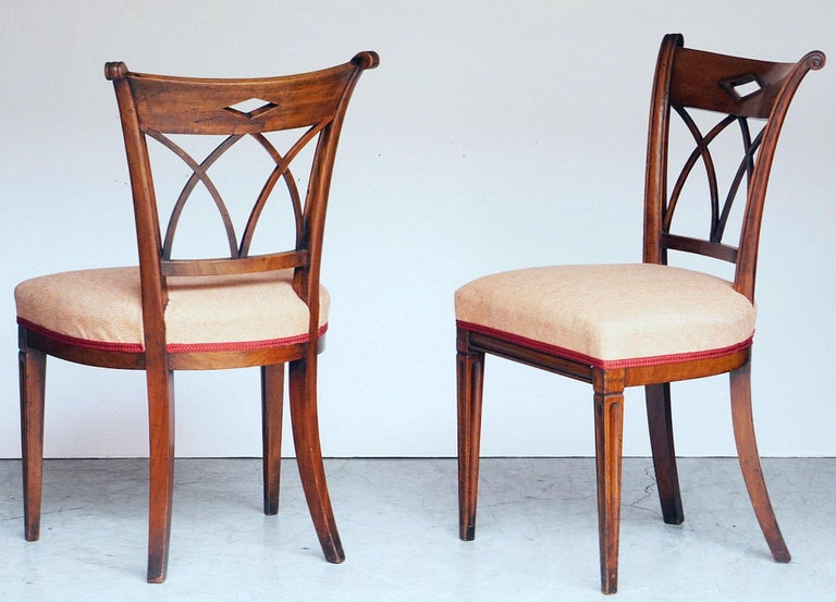 Dutch Upholstered Dining Chairs of Mahogany In Good Condition For Sale In Austin, TX