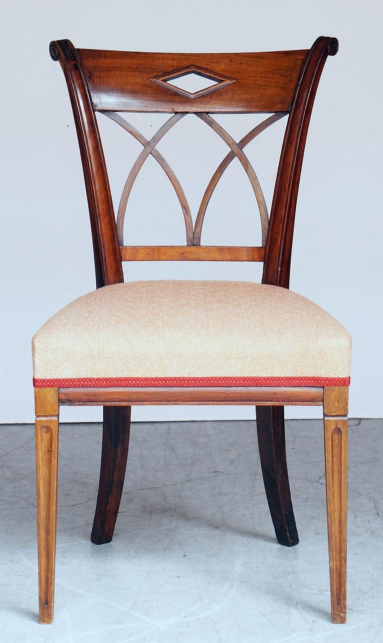 Upholstery Dutch Upholstered Dining Chairs of Mahogany For Sale