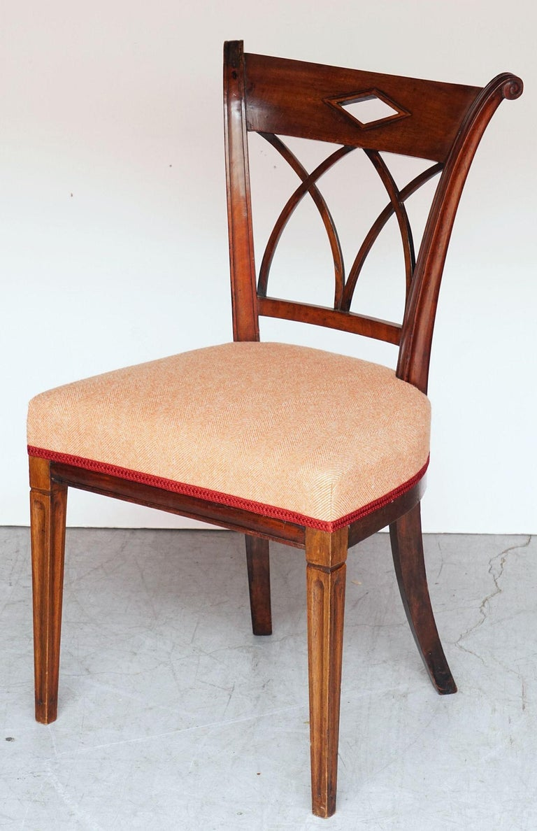 Dutch Upholstered Dining Chairs of Mahogany For Sale 1