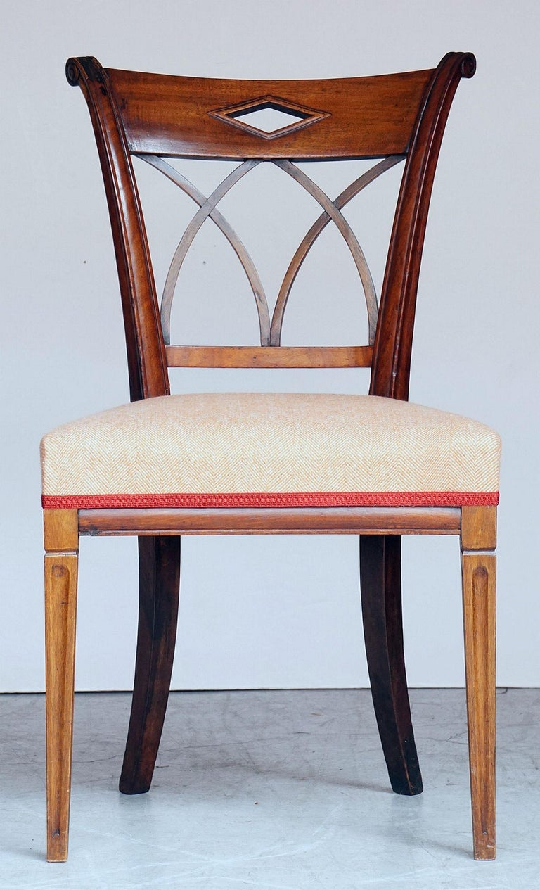 Dutch Upholstered Dining Chairs of Mahogany For Sale 2
