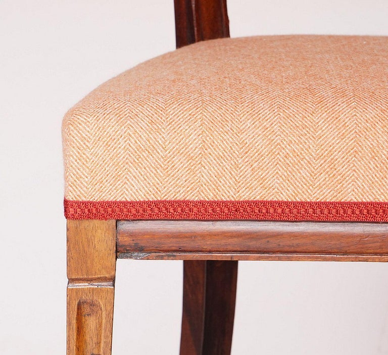 Dutch Upholstered Dining Chairs of Mahogany For Sale 4