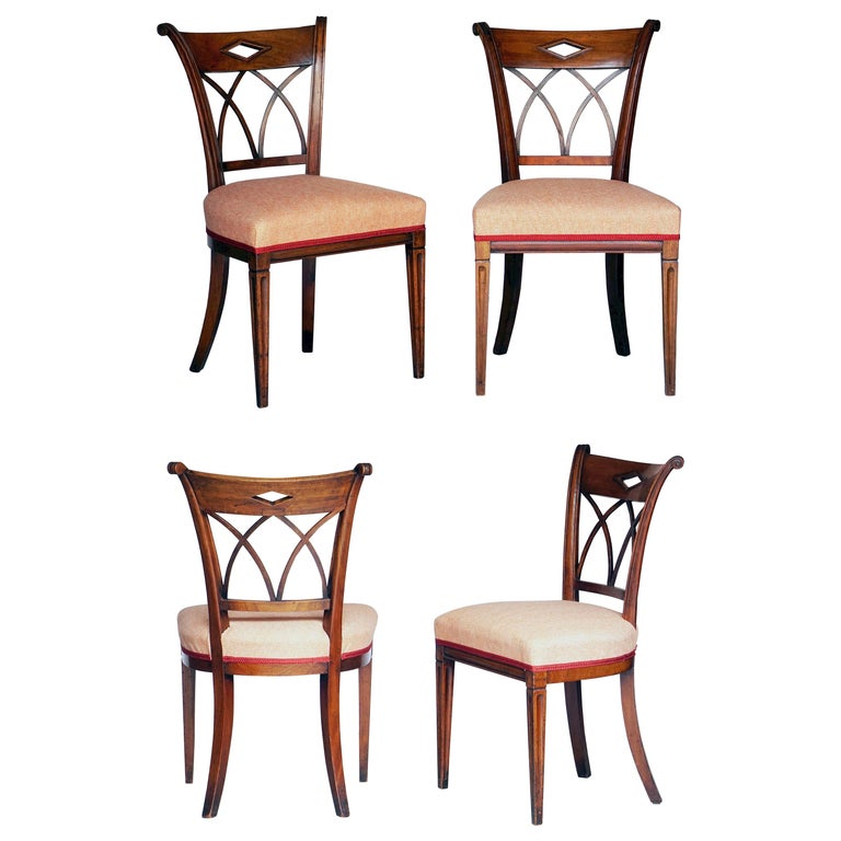 Dutch Upholstered Dining Chairs of Mahogany For Sale