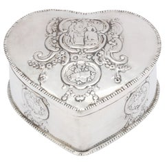 Dutch Victorian Continental Silver '.800' Heart-Form Box with Hinged Lid