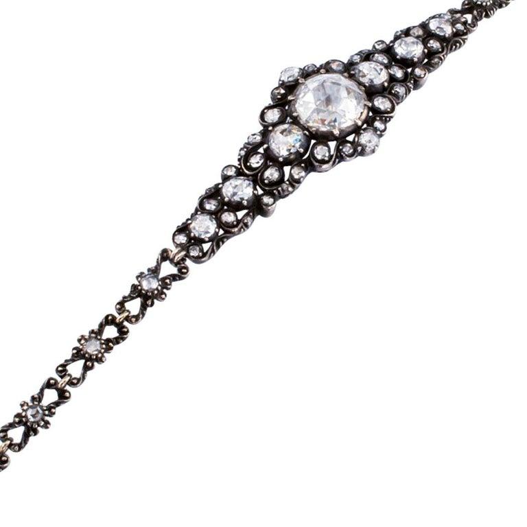 Niederländische viktorianische Rosenschliff Diamant-Armband Silber Gold 2