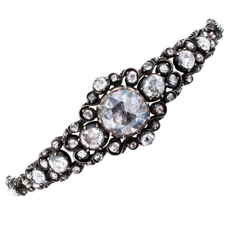 Niederländische viktorianische Rosenschliff Diamant-Armband Silber Gold 3