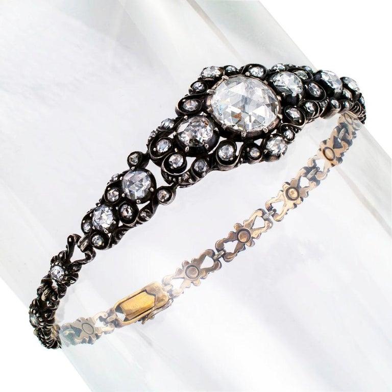 Niederländische viktorianische Rosenschliff Diamant-Armband Silber Gold 5