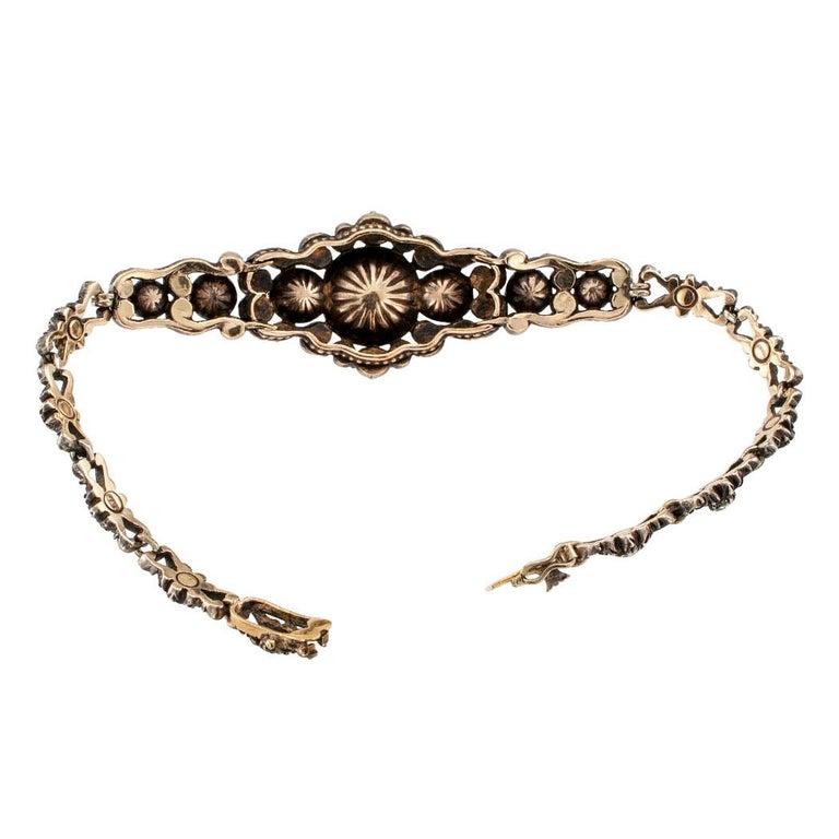Niederländische viktorianische Rosenschliff Diamant-Armband Silber Gold 6