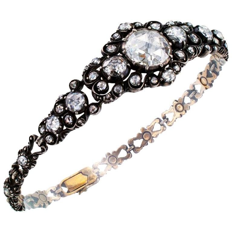 Niederländische viktorianische Rosenschliff Diamant-Armband Silber Gold 1