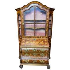 Dutch Walnut Miniature Secretaire Bookcase, 18th Century