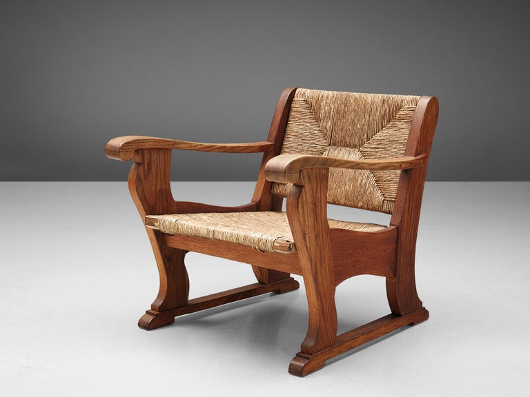 20th Century Dutch Wicker Armchair in Cane and Oak For Sale