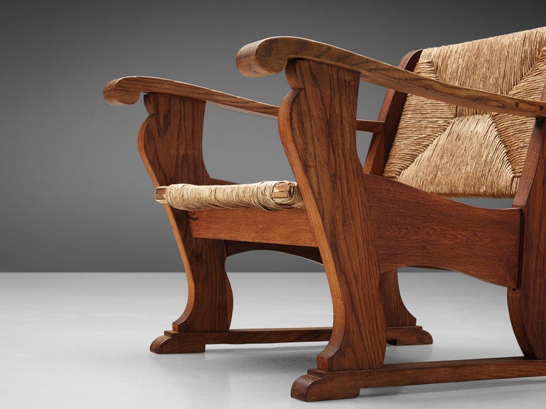 Dutch Wicker Armchair in Cane and Oak For Sale 1