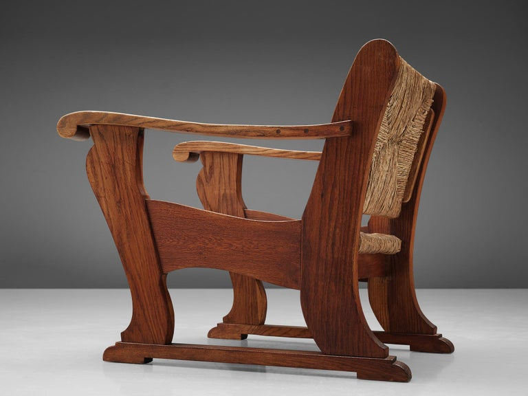Dutch Wicker Armchair in Cane and Oak For Sale 3
