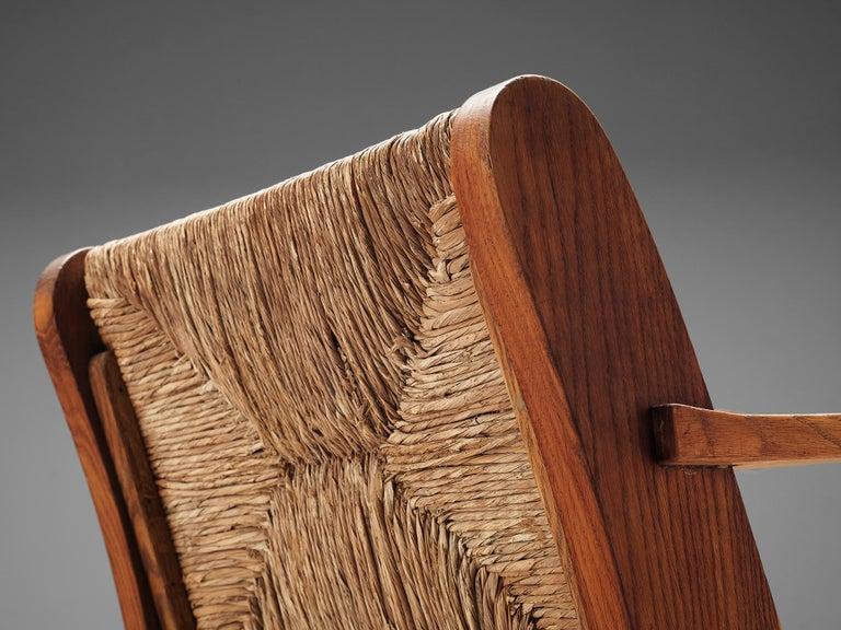 Dutch Wicker Armchair in Cane and Oak For Sale 4