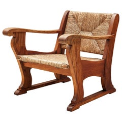 Dutch Wicker Armchair in Cane and Oak