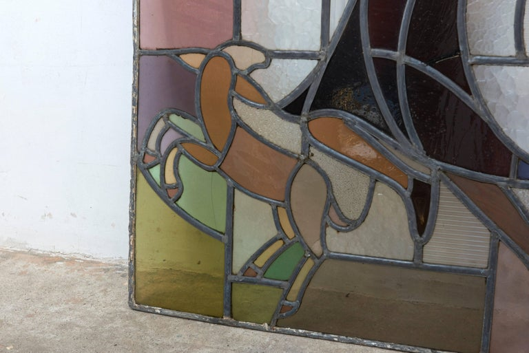 Art Deco Dutch Window in Stained Glass with Jump Rope Playing Girl, 1920s For Sale