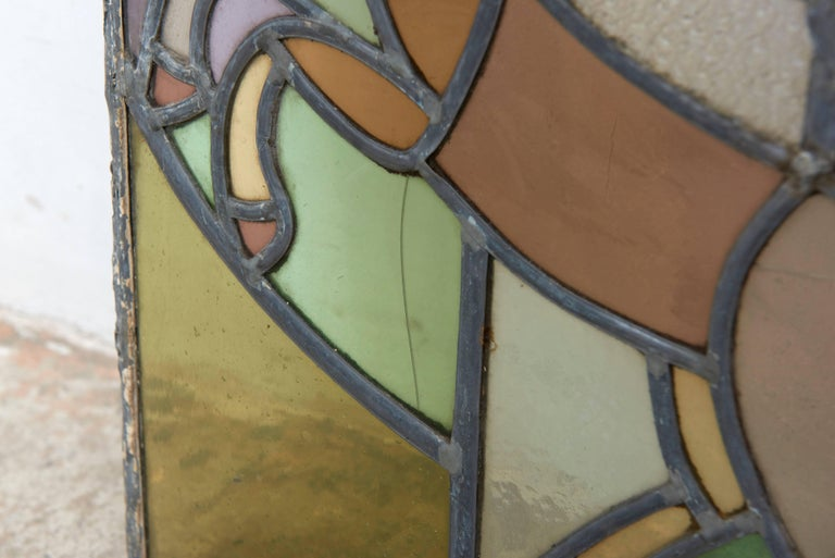 Dutch Window in Stained Glass with Jump Rope Playing Girl, 1920s In Good Condition For Sale In Antwerp, BE