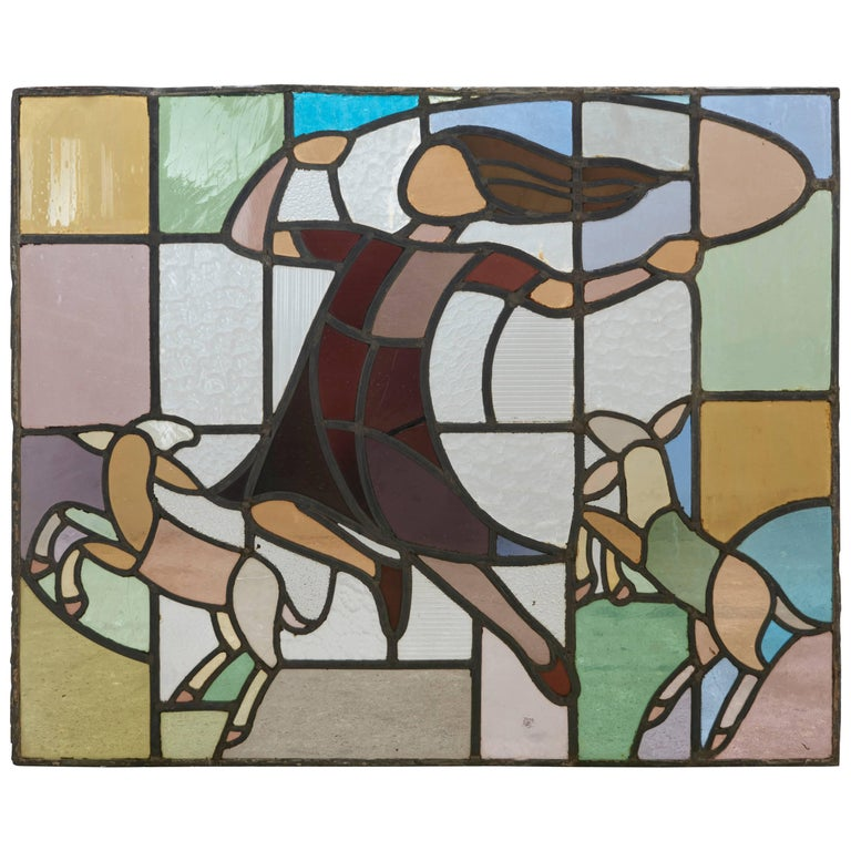 Dutch Window in Stained Glass with Jump Rope Playing Girl, 1920s For Sale