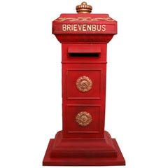 Duth Iron Mailbox in Red and Gold Paint, the Netherlands, 20th Century