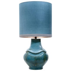 Dutz Ceramic Table Lamp with New Silk Custom Made Lampshade René Houben, 1960s