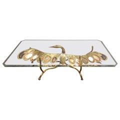 Duval Brasseur Era Illuminating Sculptural Bird Coffee Table in Agate and Brass