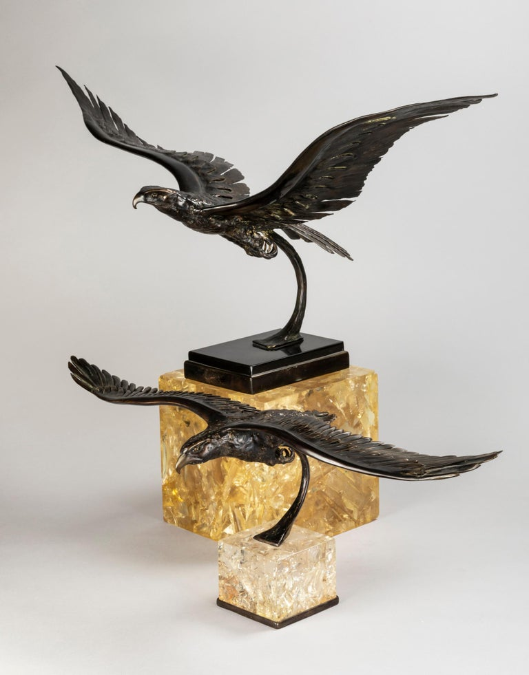 Two superbs flying eagles in bronze sitting on fractal resin cubes (slightly champagne, gold color).These two rare sculptures have been created by famous French artist Jacques Duval Brasseur who was inspired by nature. He lover to mixe bronze with