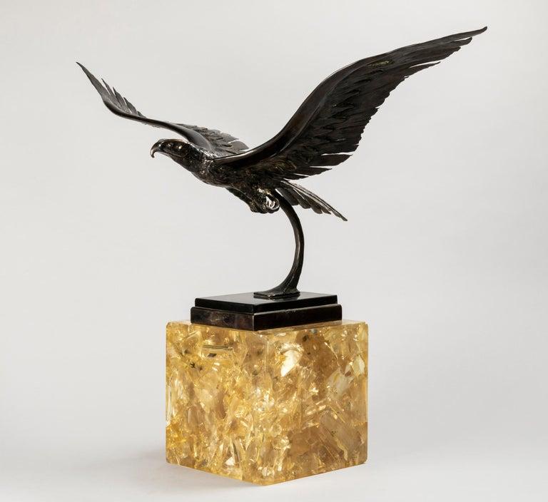 Mid-Century Modern Duval Brasseur Two Bronze Sculptures, 1970s For Sale