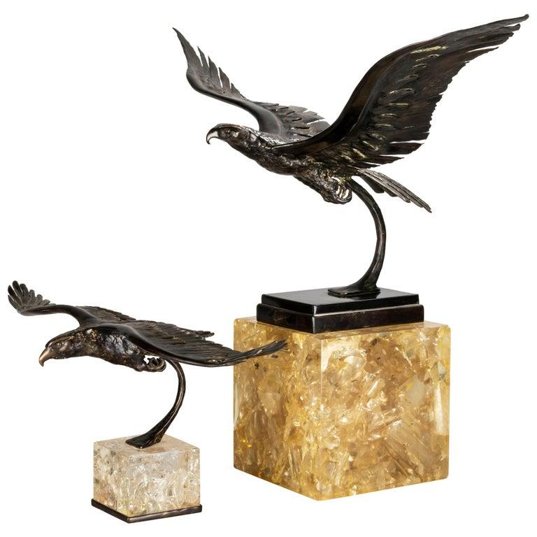 Duval Brasseur Two Bronze Sculptures, 1970s For Sale