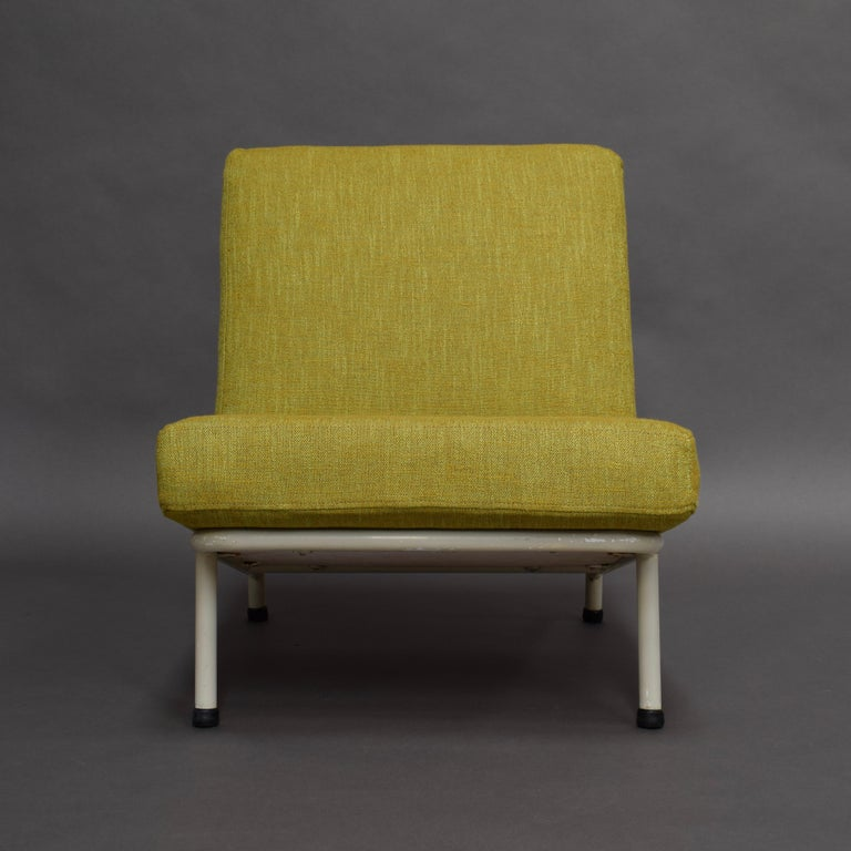 Minimalistic Scandinavian lounge chair. Clean and simple Swedish design.  The cushions have been reupholstered with the new Chivasso fabric from the 2020 collection. This chair has been used for the Chivasso 2020 brochure.  Designer: Alf