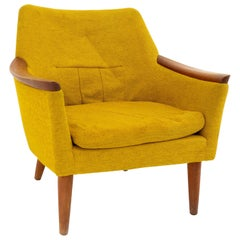 Dux Style Midcentury Teak & Yellow Upholstered Lounge Chair