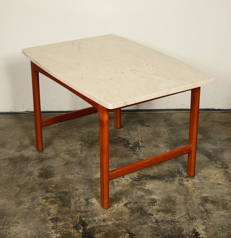 Mid-Century Modern DUX Teak and Travertine Side Table by Folke Ohlsson For Sale