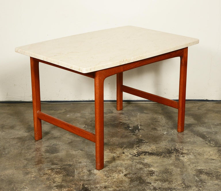 Swedish DUX Teak and Travertine Side Table by Folke Ohlsson For Sale