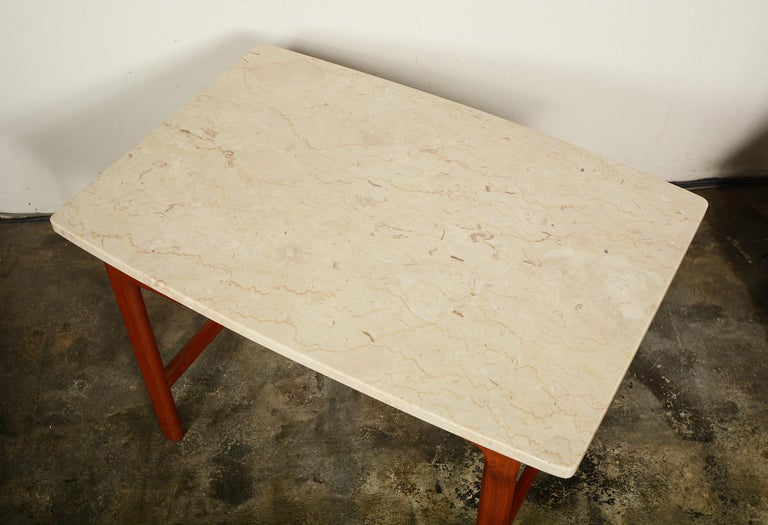 DUX Teak and Travertine Side Table by Folke Ohlsson In Good Condition For Sale In San Mateo, CA