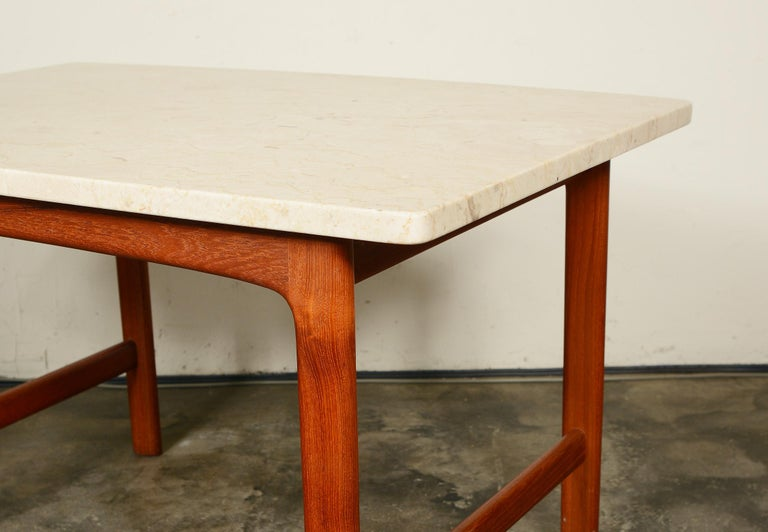 Mid-20th Century DUX Teak and Travertine Side Table by Folke Ohlsson For Sale
