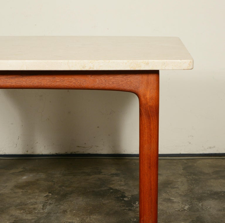 DUX Teak and Travertine Side Table by Folke Ohlsson For Sale 2
