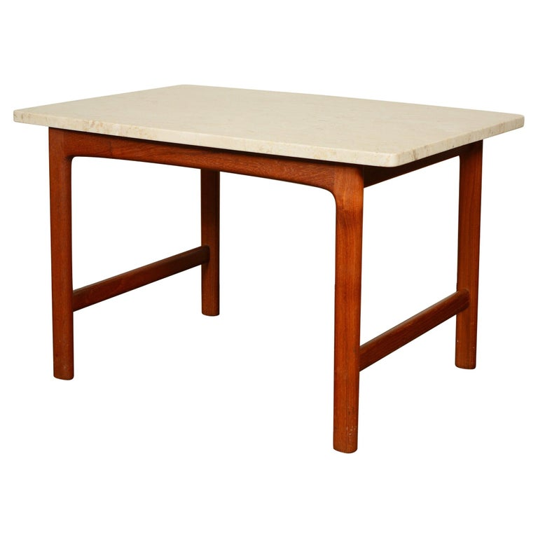 DUX Teak and Travertine Side Table by Folke Ohlsson For Sale