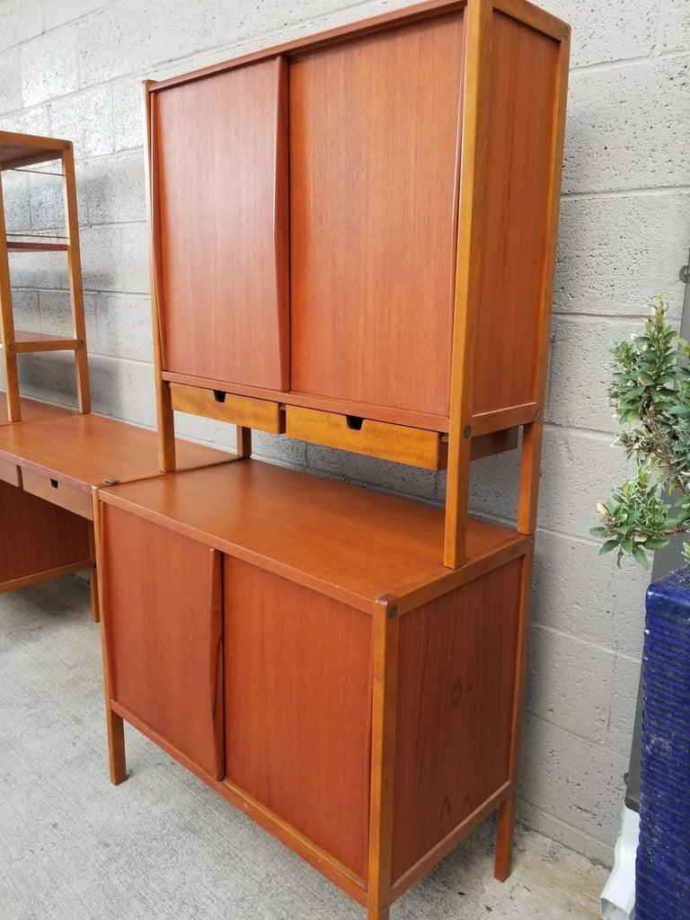 Scandinavian Modern Dux Teak Danish Modern Storage / Shelf / Wall Unit For Sale