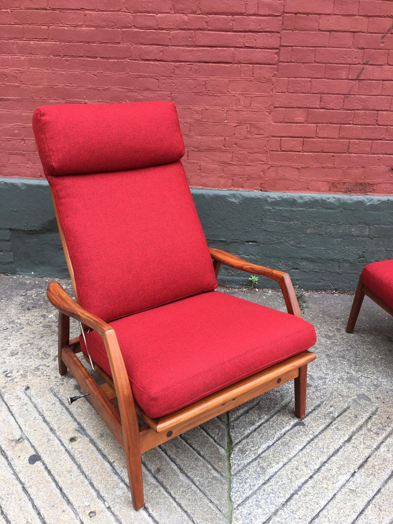 Dux Teak Lounge Chair Recliner And Ottoman In Red Wool For