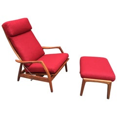 DUX Teak Lounge Chair/Recliner and Ottoman in Red Wool