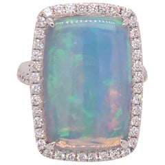 Dvani White Gold Opal and Diamond Ring