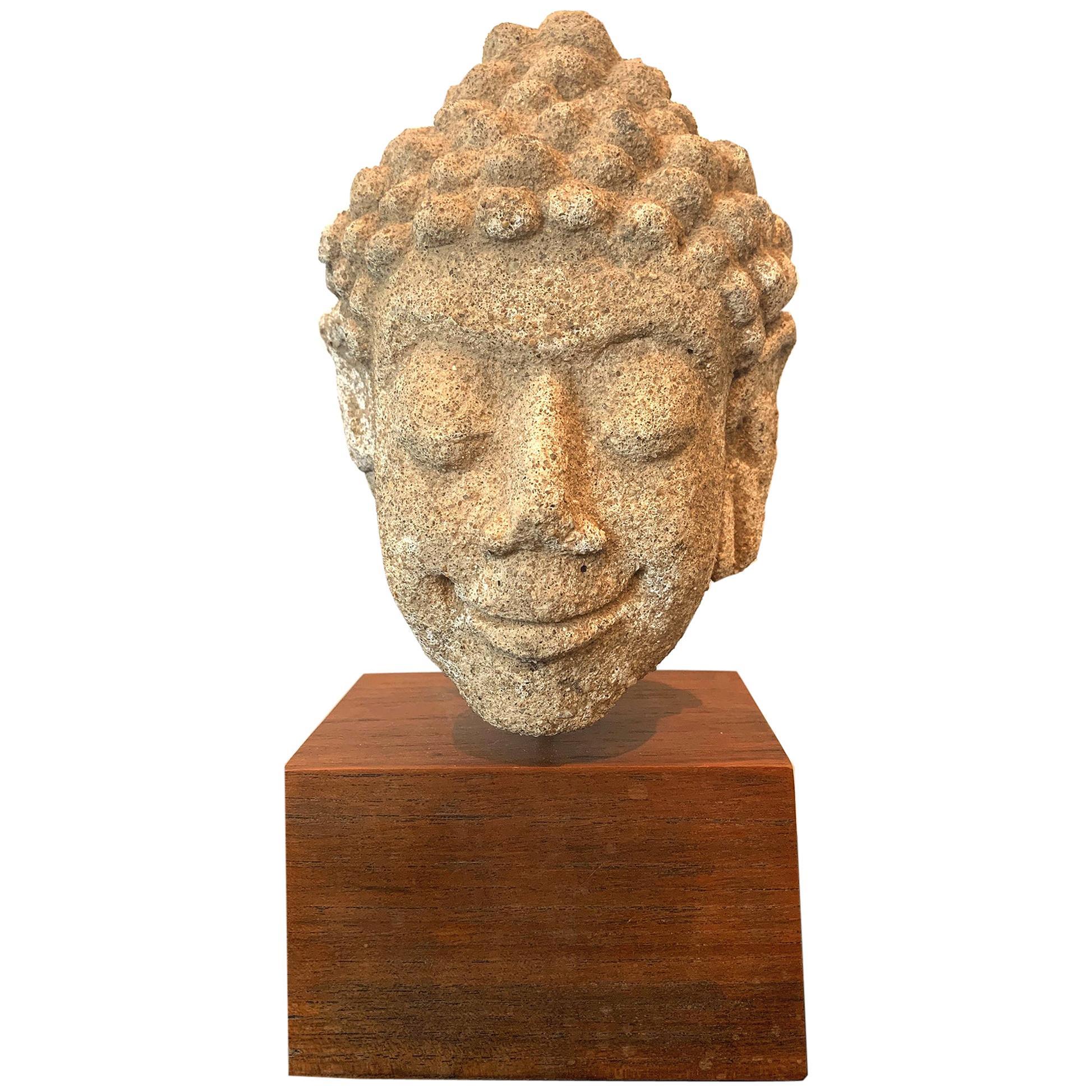Dvaravati Stucco Buddha Head from Thailand