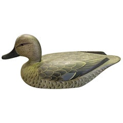 D.W. Nichol Signed Wood Hand Carved Duck Decoy, Female Blue Wing Cinnamon Teal