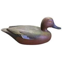 D.W. Nichol Signed Wood Hand Carved Duck Decoy, Male Cinnamon Teal